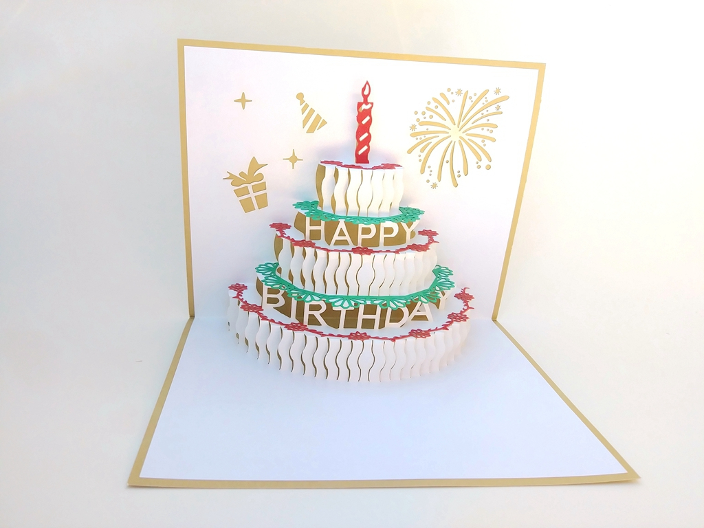 Gold Birthday Cake Happy Pop Cards